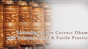 Listening to the Correct Dhama of H.H.Dorje Chang Buddha III will Prevent Blind & Futile Practice